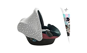JANABEBE Universal Hood Canopy for Baby Carriers and Group 0 Chairs White Star by Janabebé®