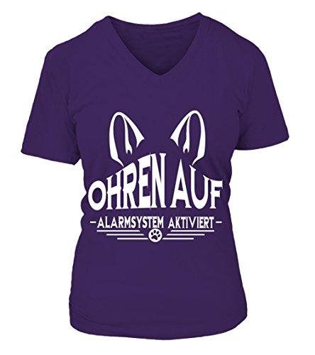HUNDE Motiv T-Shirt: Ohren auf - Alarmsystem aktiviertDamen Shirt Größe S bis XXXXL - in versch. Farben Violett