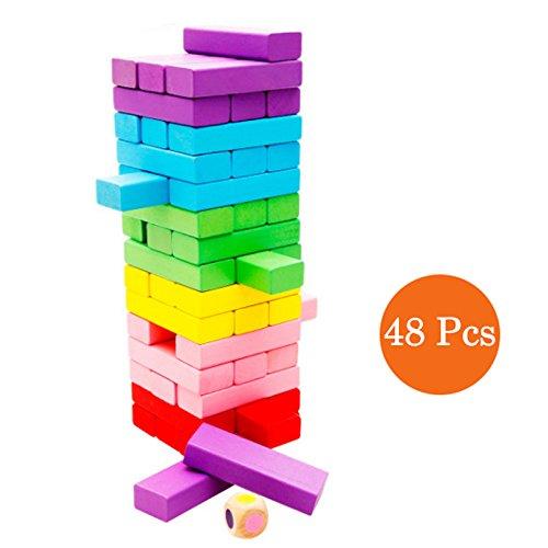 Preisvergleich Produktbild Binoster Stapelbrett aus Holz, Bunter Bauholz-Turm Tumbling Blöcke Spiel für Kinder und Erwachsene, Spaß Bildung Spielzeug 48 Stück
