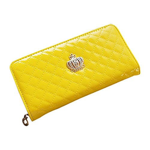 TOOGOO(R) women quilted long wallet crown purse women Wallets With Coin Bag£¨Yellow Crown£©