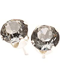 pewterhooter Men's 925 Sterling Silver stud earrings handmade with Black Diamond crystal from SWAROVSKI®