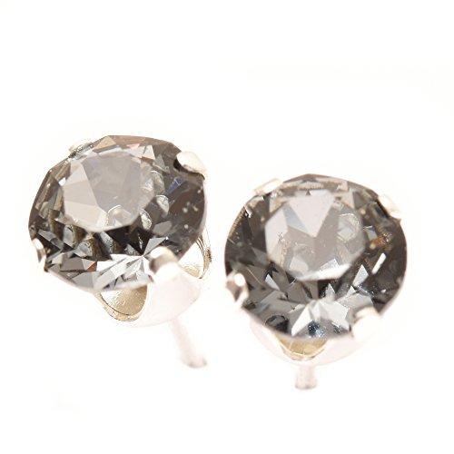 pewterhooter Herren 925 Sterling Silber Ohrstecker Ohrringe handgefertigt mit funkelnden Black Diamond Kristalls aus SWAROVSKI®.