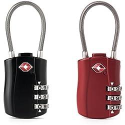 FOXAS 2 Candados para Equipajes Aprobados por el TSA para Equipaje Maletas y Casilleros con Combinación de 3 Dígitos (Rojo + Negro)