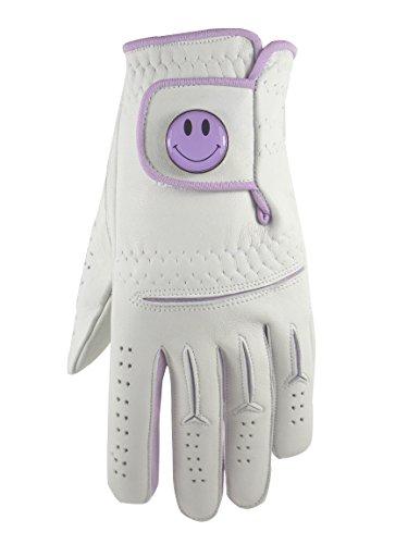 Damen Cabretta-Leder Golf Handschuh mit Lila Smiley, Ball Marker. Violett lila S