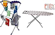 PAffy Sumo Clothes Drying Stand Large (White & Blue) with Foldable Ironing Board/Ironing Table with Iron H