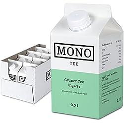 Mono Tee Bio-Eistee Grüner Tee Ingwer, 8er Pack (8 x 500ml) ungesüßt, kalorienarm, direkt gebrüht - Ihre Alternative zu Wasser