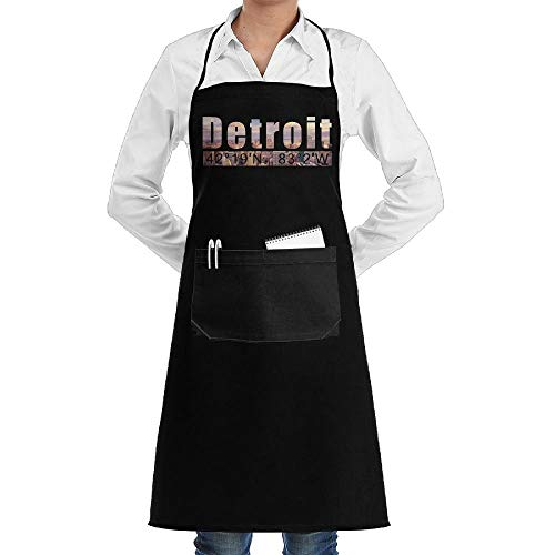 Estrange Detroit Aprons Kitchen Chef Bib Aprons Gift Apron Professional for Grill,BBQ,Baking,Cooking for Men Women,with Front Pockets,Black -