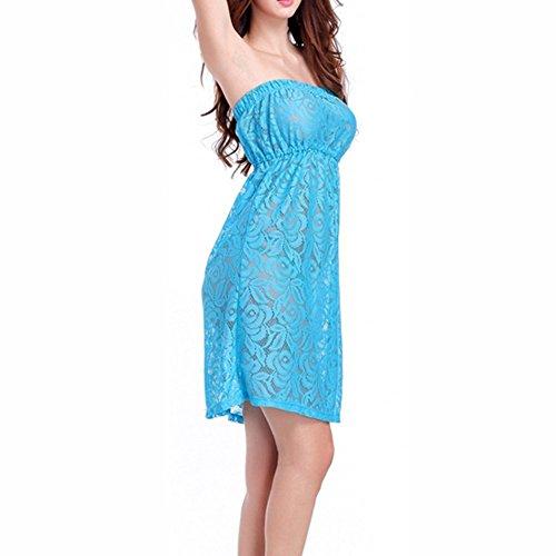UDreamTime Damen-Strand-Badebekleidung trägerlose Spitze-Vertuschung-Kleid Blau