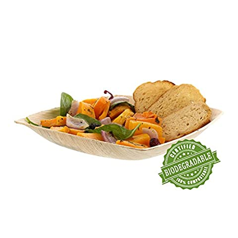 CiboWares Premium 20 centimetre Deep Square Areca Palm Leaf Plate, Eco-Friendly and Disposable for Home and Catering, Package of 25