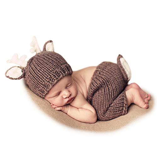 Adorel Unisex Babyfotos Kleidung REH Gehäkelt Hose Mütze (Baby-jungen-accessoires)
