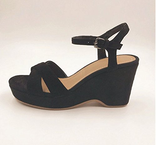 - sandali femminili sandali femminili estate corrisponde tutto nero con le scarpe nero (8cm)