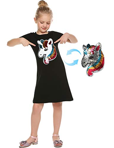 Bricnat Mädchen Kleid Kurzarm Baumwolle Einhorn Pailletten Herz Love Drucken Kleid Casual T-Shirt Kleid Mädchen Glitzer-Kleid Sommer Kleider Täglich Kleid Größe 110-150 -