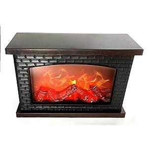 LED Tischkamin Kamin LED Laterne mit realistischer Flammensimulation schwarz aus Kunststoff 30×20 cm