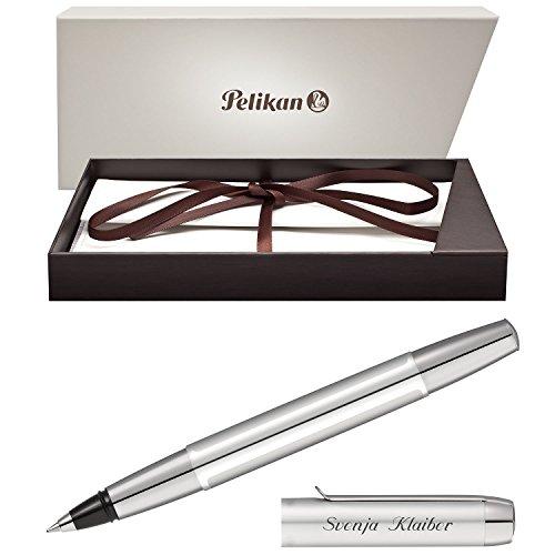 Pelikan Tintenroller PURA Silber mit persönlicher Laser-Gravur aus Aluminium mit Hochglanz...
