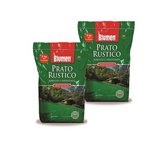 Semi Giardino Sementi per Prato Rustico Resistente Blumen 5+1 Kg - Set da 2 Confezioni (12 kg) Copertura 600 mq