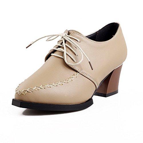 Voguezone009 Femme Simili Cuir Suede Lace Up Toe Bout Fermé Up Talon Moyen Abricot Ballet Chaussures