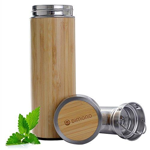 Bambus Thermobecher Reisebecher - Tee to go Teamaker doppelwandiger Thermosbecher mit Teesieb Thermoflasche aus Edelstahl, 400ml