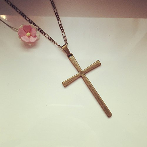 Lange Kette Kreuz Bronze/Glaube/cross/faith/vintage/ethno/hippie/must have/statement/florabella schmuck/kommunion/firmung/taufe