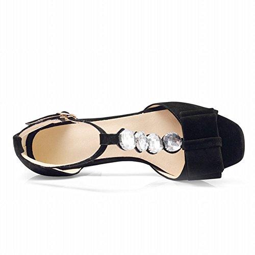 MissSaSa Sandales Femmes Lanière en T Chaussures Talons Hauts Bout Carré Noir