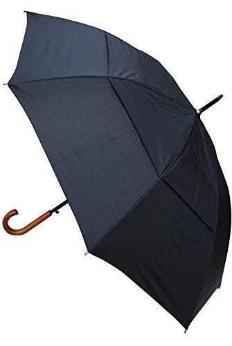 COLLAR AND CUFFS LONDON - Windproof 134 cm Bogen - Holzgriff - Sehr STARK - Verstärkt mit Fiberglas - StormDefender City - Ventilationsbezug - Automatik Stockschirm - Regenschirm - Schwarz