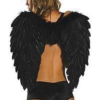 Alas de ángel con plumas color blanco para disfraz y cosplay de Aolvo, de 60 x 45 cm, para Halloween, Navidad, fiestas, negro, 23.6x18''