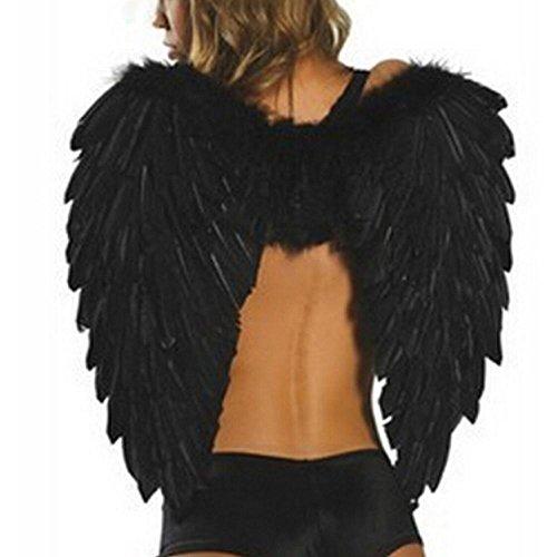y, AOLVO gefiederten Engel Flügel Magic Kostüm Stage Zubehör für Halloween Weihnachten Urlaub Party, weiß, 59,9x 45,7cm, schwarz, 23.6x18'' (Dark Angel Kostüm Für Frauen)