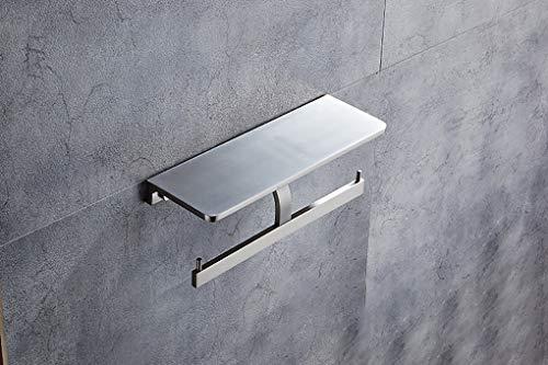 MBEN Toilettenpapierhalter, doppelter Toilettenpapierhalter mit Halterung, Wandmontage-Papierhandtuchhalter, Space-Aluminium-Handyhalter,Brushed