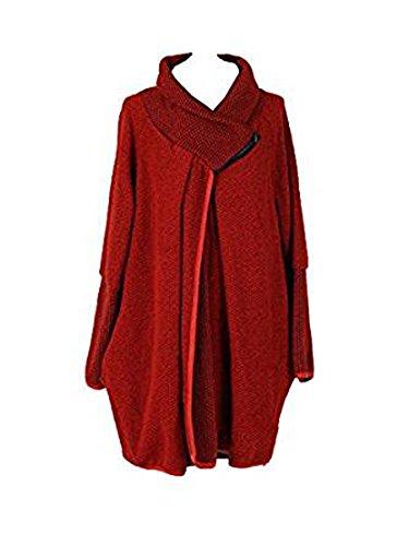 Friendz Trendz-Womens italiano Cappotto in lana con maniche lunghe e maniche lunghe in lana con cappuccio Rust