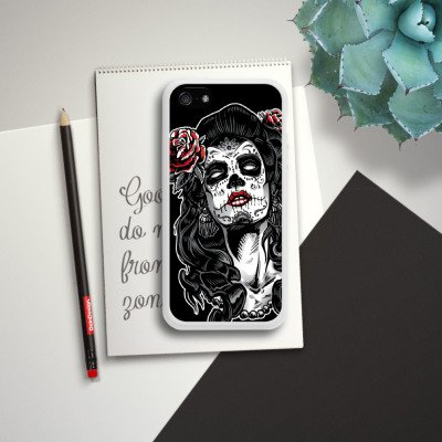 Apple iPhone 5 Housse Étui Silicone Coque Protection Zombie Catrina Halloween Housse en silicone blanc