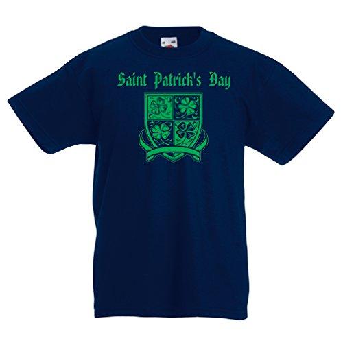 Kinder T-Shirt Saint Patrick's day Shamrock symbol - Irish party time (5-6 years Dunkelblau Mehrfarben) (Familie Farmer Halloween Kostüm)