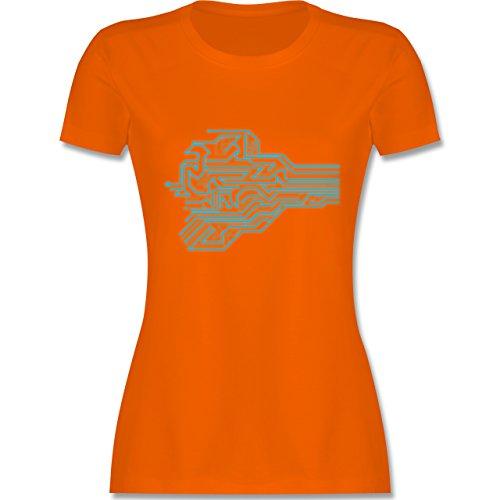 Nerds & Geeks - Schaltkreis Design - tailliertes Premium T-Shirt mit Rundhalsausschnitt für Damen Orange