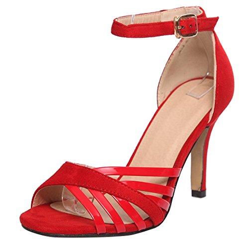 AIYOUMEI Damen Sandaletten High Heels Knöchelriemchen Sandalen mit 8cm Absatz und Schnalle Elegant Modern Schuhe Rot