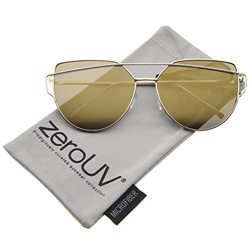 zeroUV - Oversize Metal Frame Thin Temple Color Mirror Flat Lens Aviator Sunglasses 62mm (Gold / Bronze Mirror)
