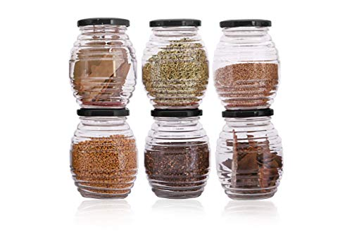 Ginoya Brothers Air Tight Metal Black Lid,Pot Shape Glass Jar and Container for Grocery Storage [ 400 ml ] (3)