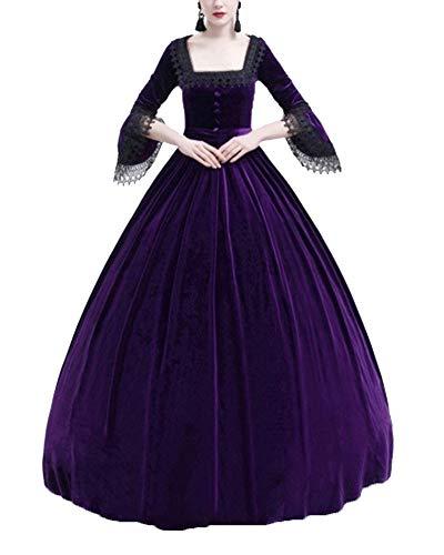 Kasen Mujeres Vintage Elegante Encaje Vestido Fiesta Halloween Apriete La Cintura Maxi Disfraz Morado S