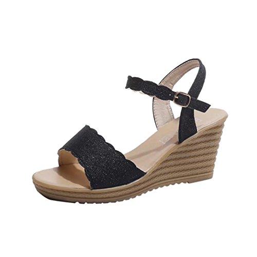 Uomogo® scarpe donna sandali, sandali con plateau sandalo basso fascia,donne pesce bocca piattaforma tacchi alti zeppa sandal 7-cm (cn:36, nero)