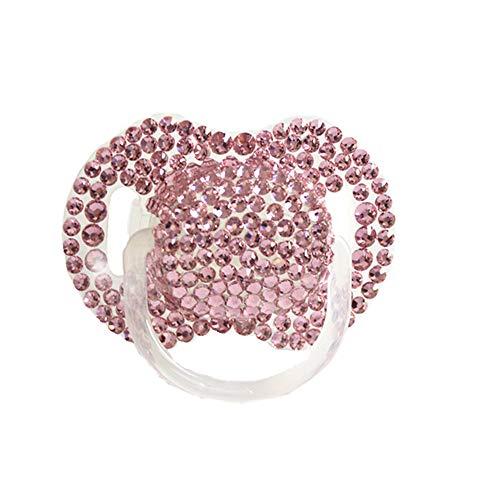 Dollbling benutzerdefinierte einzigartige Sparkle Strass/weiße Perlen Kristalle Baby Schnuller, 1PC (Rosa) (Kristall Rosa Schnuller)