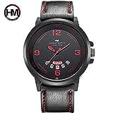 HM-1602 Hannah Martin Mode Mann Uhr mit Kalender Funktion Casual Sport Quarzuhr Armbanduhr Weihnachtsgeschenk - schwarzes Lederarmband rotes Gesicht