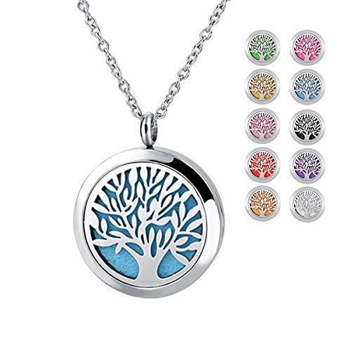 Yidarton Damen Halskette Baum des Lebens Halskette Lebensbaum Halskette Lebens Baum Aromatherapie Diffusor Locket Halskette mit 10 Stücke Nachfüllpads …