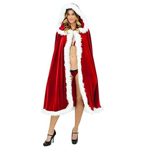 Für Poncho Erwachsene Rot M&m Kostüm - ShiyiUP Rot Umhang Weihachten Frauen Kostüm Poncho mit Kapuze Verkleidung,M