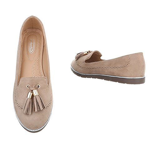 Ital-Design Chaussures Femme Mocassins Plat Slippers beige 127-6