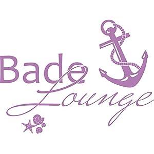 GRAZDesign Wandtattoo Bade-Lounge Anker Badezimmer-Tattoo an die Wand/Fliesen/Spiegel (40x30cm / 042 Flieder)