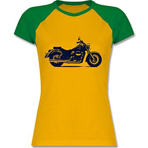 Motorräder - Motorrad - XXL - Gelb/Grün - L195 - zweifarbiges Baseballshirt / Raglan T-Shirt für Damen (Raglan-motorrad)