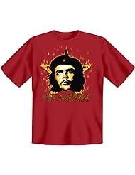 Revolution T-Shirt Che Guevara mit Flammenstern in dunkelrot