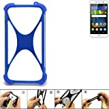 K-S-Trade Handyhülle für Huawei Y6Pro LTE Silikon Schutz Hülle Cover Case Bumper Silikoncase TPU Softcase Schutzhülle Smartphone Stoßschutz, blau (1x)