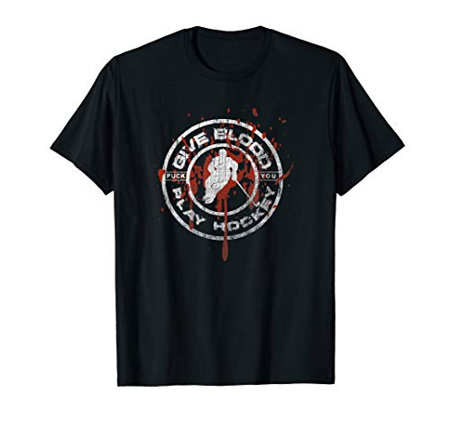 Give Blood Play Hockey Apparel - Ice Hockey Bloody Logo T-Shirt -