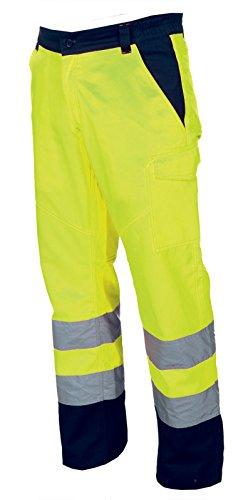Pantalone da lavoro bicolore alta visibilità con bande riflettenti charter, colore: giallo fluo, taglia: l