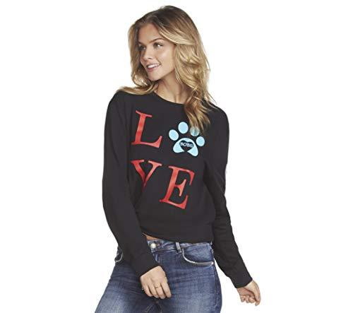 Damen Skechers Shape (Skechers Damen Bobs for Dogs and Cats Graphic Sweatshirt, Black Love Paw Print, Groß)