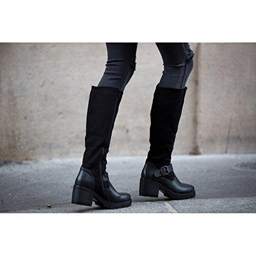 Ideal Shoes–Stivali bimatière a suola crantée jihana Nero