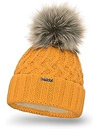 226d09051504fa PaMaMi Damen Thermo Wintermütze | warme Strickmütze mit Bommel | Gestrickte  weiche…